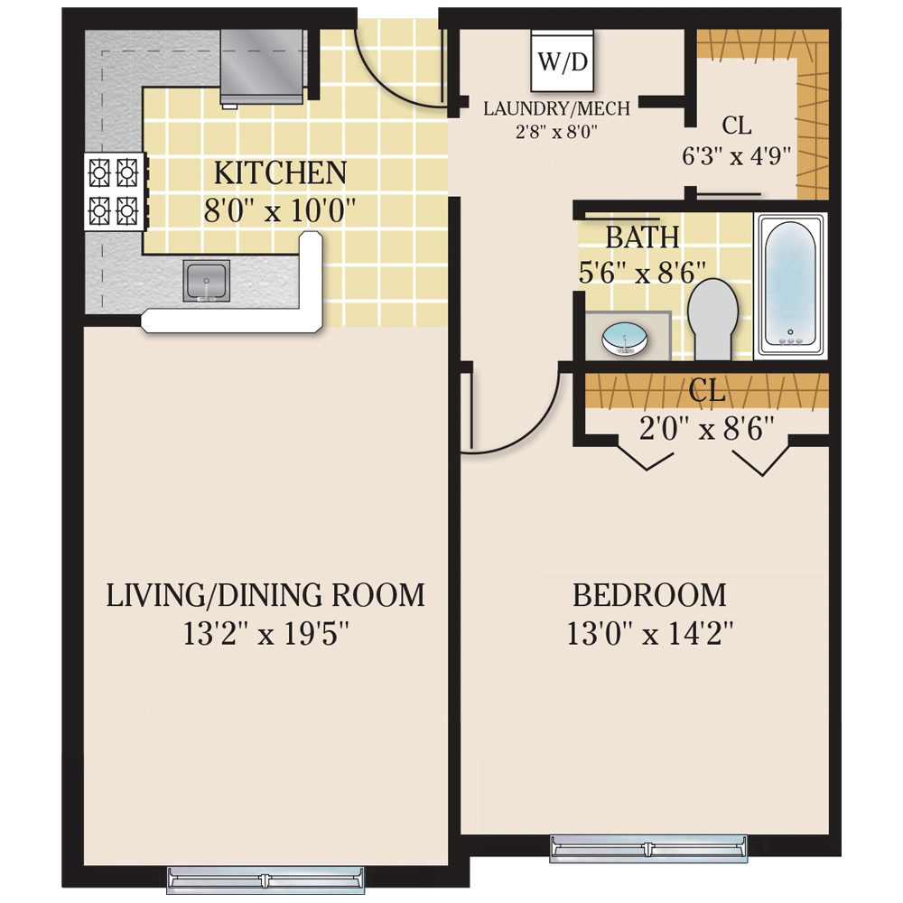 Riverview Court Floor Plan 1 Bedroom