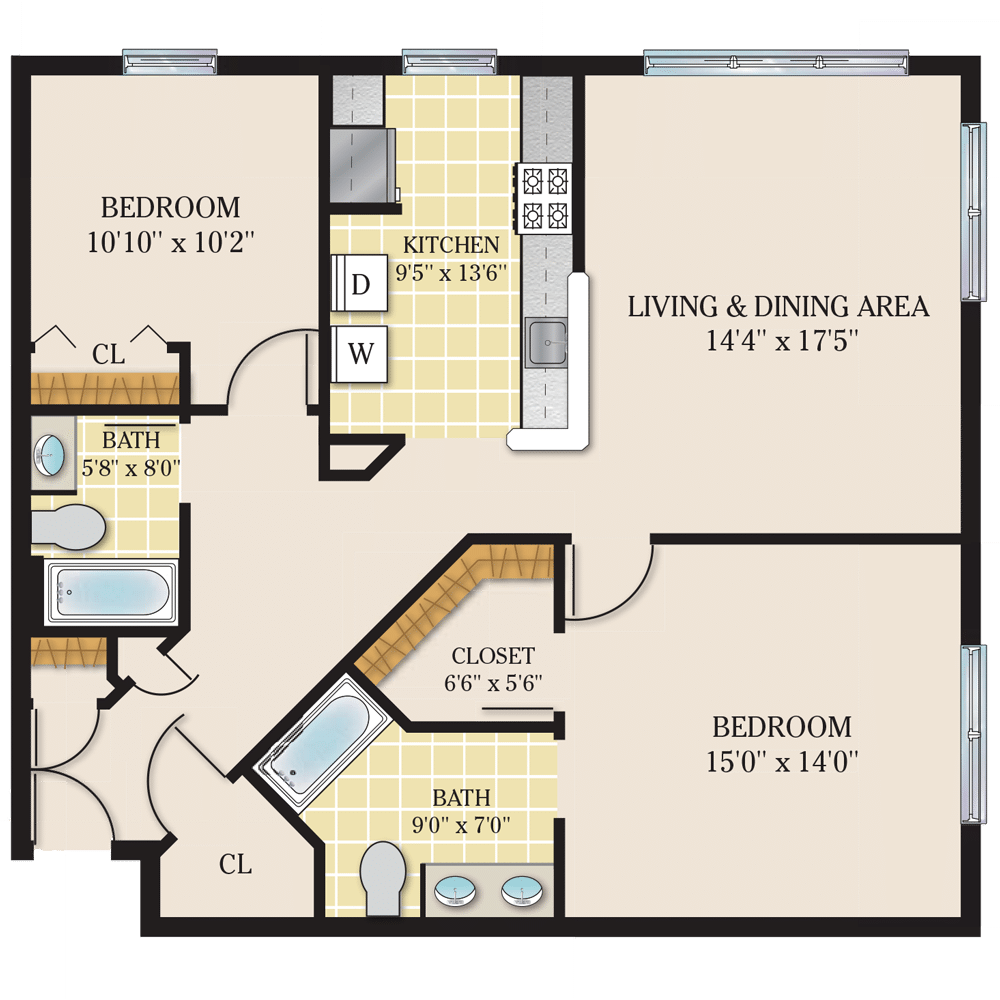 Riverview Court Floor Plan 2 Bedroom Corner