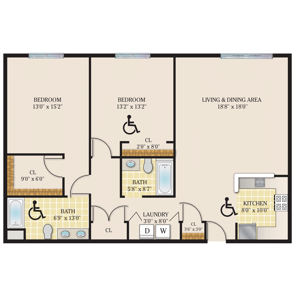Riverview Court Floor Plan 2 Bedroom